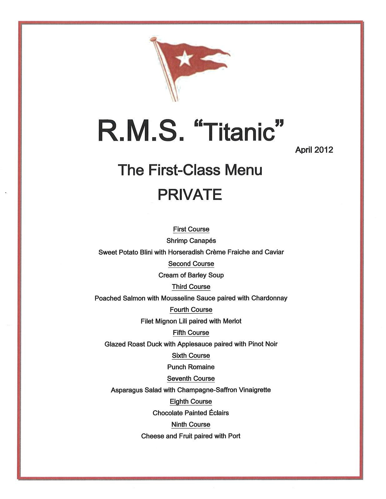 Titanic Third Class Menu Le 100 200 Me Anniversaire Du Naufrage Du Titanic Le 15 Avril